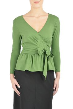 d373990d67ee8 I  lt 3 this Peplum wrap cotton knit blouse from eShakti Green Blouse