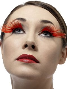 Long red bright side sweeping eyelashes with diamante will give your eyes gorgeous flutter.