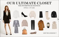 Workwear Capsule Wardrobe:    Black blazer  2 pairs of trousers (1 pair black, 1 pair in another neutral)  Black pencil skirt  Black pumps  Commuter flats  2 sweaters (1 crewneck, 1 cardigan)  Trench coat  Classic work tote  Patterned blouse  White button-down shirt  Oversize watch  Day dress