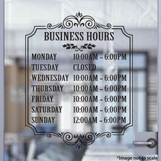 Custom Business Hours | Stickertitans.com | Custom Business / Office / Shop / Salon / Restaurant Open Hour Vinyl Decal | Hours of Operation | Our Vinyl Signs are made from Oracal 651 | 470-585-2229 Storefront Signage, Store Signage, Business Hours Sign, Successful Business, Cafe Window, Barber Shop Decor, Billards Room, Window Signs, Door Stickers