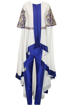 White and blue embroidered cape with blue pants available only at Pernia's Pop-Up Shop.