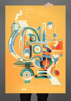 Typographic Artwork by Peter Tarka. Inspiration Typographie, Typography Inspiration, Graphic Design Inspiration, Daily Inspiration, Cool Typography, Typography Letters, 3d Cinema, Web Design, Retro Vintage