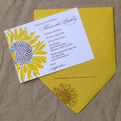 Detail::Sunflower birthday invitation. Letterpress printed in sunny yellow and chocolate brown inks on cotton paper. Wouldn't this make a great fall wedding invitation