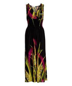 Black Fern Surplice Maxi Dress #zulily #zulilyfinds