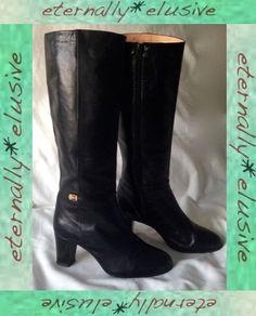 87c6c5f9737 RENATA Italian Genuine Leather Long High Heeled Boots Women Ladies Size 4  37 VTG 24.00 Ladies