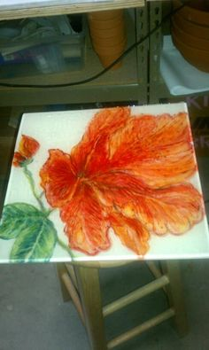 Fused glass flower wall panel