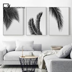 Black White Plant Palm Tree Leaves Posters Prints Minimalist Wall Art Canvas Painting Nordic Style Wall Picture for Living Room - All For Herbs And Plants Leaf Wall Art, Diy Wall Art, Wall Art Decor, Canvas Wall Art, Black And White Wall Art, White Walls, Black White, White Interior Design, Living Room Pictures