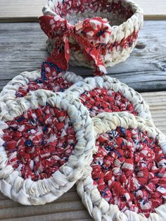 Items similar to Rag basket holds 4 coasters. Red, white (tan), blue Mug rugs and basket. on Etsy Handmade Shop, Handmade Rugs, Handmade Gifts, Tissue Box Covers, Tissue Boxes, Red Jewelry, Quilted Wall Hangings, Star Quilts, Mug Rugs
