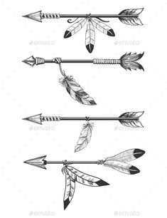 Arrows With Feathers And Beads - - arrow tattoo Arrows With Feathers And Beads Indian Arrow Tattoo, Native American Arrow Tattoo, Feather Arrow Tattoo, Indian Feather Tattoos, Arrow Tattoo Design, Arrow Design, Plume Tattoo, Indian Tattoo Design, Feather Drawing