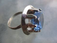 70s Vintage Huge Blue Gemstone Mexican Sterling by PaisleyBabylon, $80.00