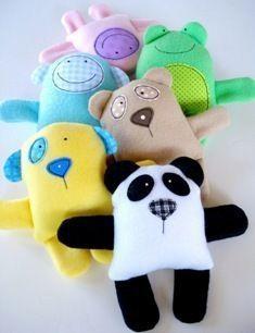 teddy, panda, monkey, sheep, dog and frog