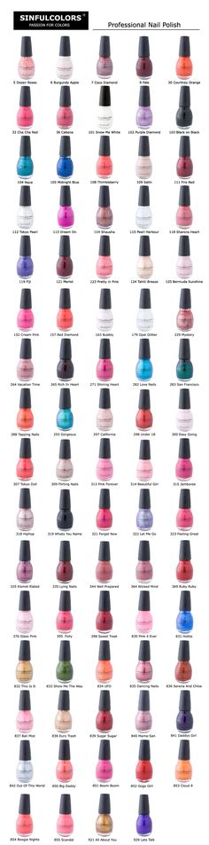 SinfulColors-Nail Polish Colour Chart-I get mine at Walgreens for less than 2$ each and I love this polish brand