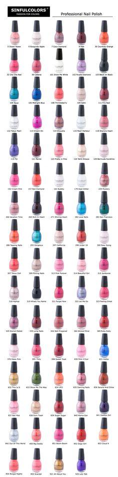 SinfulColors-Nail Polish Colour Chart-I get mine at Walgreens. I love this polish! Sinful Colors Polish, Sinful Colors Nail Polish, Nail Polish Brands, Nail Colors, Nail Polishes, Nail Polish Color Names, Cheap Nail Polish, Polish Nails, Fancy Nails