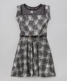 Ivory & Black Belted Skater Dress