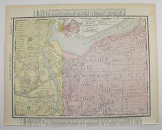 Kansas City Map Arkansas State Map 1898 City Street Map Vintage Art Map