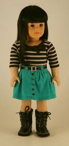 American Girl Doll Clothes - Striped  Tee with Bow, Turquoise Corduroy Skirt, and Black Belt. $29.95, via Etsy.