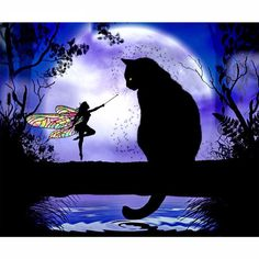Fairy and Black Cat http://ali.pub/1ng1wc 5D DIY Diamond Painting Cat Cross Stitch Black Cat &Butterfly Fairy Diamond Stick Drill Draw 3D Square Full Diamond Embroidery Fantasy silhouette Julie Fain Celestial Water Moon
