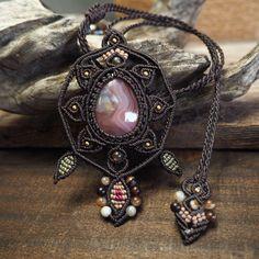 Macrame Necklace Pendant Cabochon Botswana Agate Cotton Waxed Cord Handmade #Handmade #Pendant