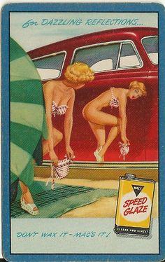 Lot 6 Vintage Speed Glaze Mac's Car Wax Pinup Adv Blue Single Swap Playing Card | eBay