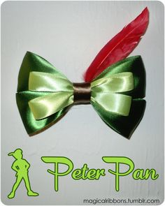 Magical Ribbons - Peter Pan Bow This can be worn on the back of the head but meant to be worn on the left side so the feather is in the correct position. Disney Hair Bows, Disney Outfits, Disney Diy, Disney Crafts, Barrettes, Hairbows, Diy Hair Accessories, Wedding Accessories, Cheer Bows