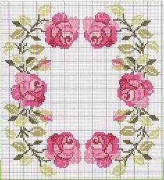This Pin was discovered by Afr Cross Stitch Pillow, Cross Stitch Borders, Cross Stitch Rose, Cross Stitch Flowers, Cross Stitch Charts, Cross Stitch Designs, Cross Stitching, Cross Stitch Embroidery, Hand Embroidery