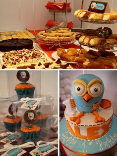 Giggle & Hoot inspired Birthday Party. Love the OWL cake for a KKG event.