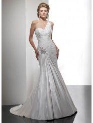 luxurious Tayja Silk Asymmetrically Ruched One Shoulder Strap Neckline Slim A-line Wedding Dress