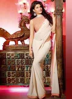 Cream Jacqueline Fernandez #Saree