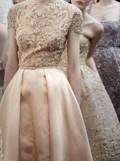 The perfect gown - slouchy, illusion beaded top, flowy skirt in the freshest springiest peach, ah, so fab