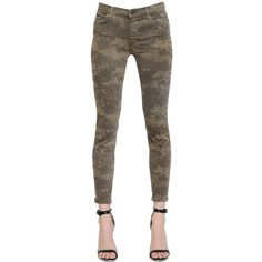 J Brand Women Mid Rise Super Skinny Camo Denim Jeans (295 CAD) ❤ liked on Polyvore featuring jeans, pants, camouflage, camo print skinny jeans, super skinny jeans, camouflage skinny jeans, camo jeans and mid-rise jeans