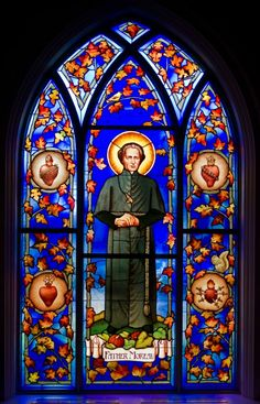 "Fr. Moreau stained class in the Stinson-Remick Chapel at the University of Notre Dame. Like the Irish?  Be sure to check out and ""LIKE"" my Facebook Page https://www.facebook.com/HereComestheIrish  Please be sure to upload and share any personal pictures of your Notre Dame experience with your fellow Irish fans!"