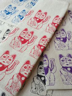 Lucky Cat Tea Towel