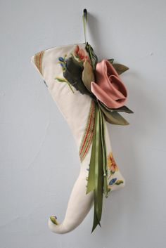 Unique Christmas Stocking with large floral detail
