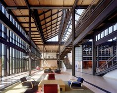 Bohlin Cywinski Jackson Honored with Lifetime Achievement Award,Pixar © Esto; Courtesy of Bohlin Cywinski Jackson Atrium, Pixar Offices, Halle, Lifetime Achievement Award, Roof Trusses, Open Office, Workplace Design, Steel Structure, Roof Structure
