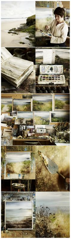AMANDA HOSKIN, CORNISH ARTIST – COUNTRY LIVING MAGAZINE Sketchbook Inspiration, Art Sketchbook, Painting Inspiration, Artist Life, Artist At Work, Abstract Landscape, Landscape Paintings, Landscapes, Country Living Magazine