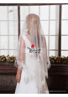 Wedding Veil One Layer Tulle Bridal Veil Applique Veil No Comb Style BV078 - Wedding Veil