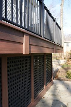 Deck Skirting Ideas - Deck skirting is a product affixed to sustain message and boards listed below a deck. Get some terrific ideas for distinct deck skirting therapies in this . Composite Decking, Pvc Decking, Under Deck Storage, Lattice Deck, Deck Skirting, House Skirting, Patio Deck Designs, Deck Pictures, Deck Builders