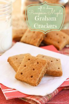 Homemade Soft & Chewy Pumpkin Maple Graham Crackers are a healthy snack recipe your kids will love! Made with whole wheat flour and sweetened with real maple syrup Baking Recipes, Real Food Recipes, Snack Recipes, Dessert Recipes, Cookie Recipes, Graham Cracker Recipes, Homemade Graham Crackers, Homemade Marshmallows, Just Desserts