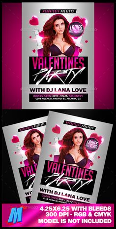 Valentines Party Flyer Template — Photoshop PSD #club #party • Available here → https://graphicriver.net/item/valentines-party-flyer-template/14458671?ref=pxcr