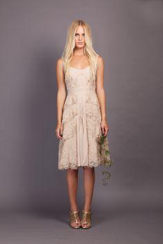 Gorgeous tea-length blush lace wedding dress via Little Joe
