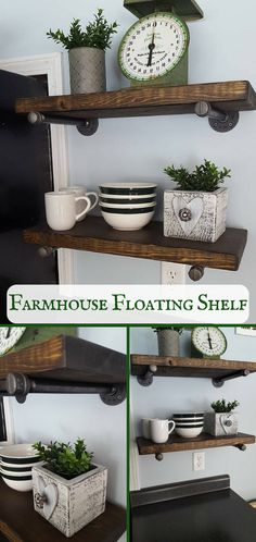 What a beautiful way to add functional storage to the kitchen. Industrial pipe farmhouse floating shelves, Rustic kitchen shelf with pipe, Kitchen storage, Rustic floating shelf, Farmhouse kitchen decor #ad