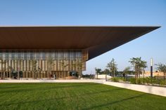 Foster + Partners crowns The House of Wisdom with cantilevered roof House Of Wisdom, Foster House, Tourism Development, Foster Partners, Corporate Interiors, Architectural Photographers, Steel Buildings, Cultural Center, Water Features