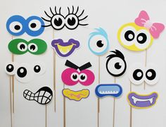 Monster Photo Booth Props. Monster Birthday Photobooth Props. via Etsy Cute idea for kids B Day