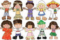 Los niños del vestido de mundo Digital Clip Art Personal y