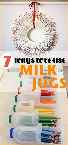 7 Things to do with Milk Jugs and Cartons.  Get crafty or organize with these great ideas.  Organization tips and tricks for home and school supplies.