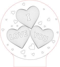Hearts I love you 3d Illusion LED light vector file