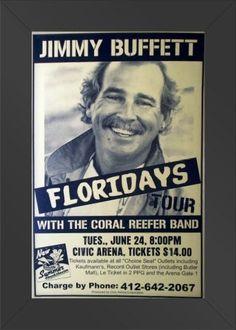 11x17 Concert Poster Jimmy Buffett Floriday's Tour Framed or Un-Framed