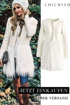 Outfits Casual, Date Outfits, Fashion Outfits, Winter Outfits For Teen Girls, White Faux Fur Coat, Fur Coat Fashion, Cute Coats, Winter Essentials, Holiday Outfits