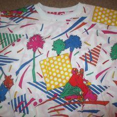 VINTAGE 80S NU RAVE INDIE HIP HOP WILD ATOMIC PRINT REVERSIBLE SWEATSHIRT SMALL in Clothing, Shoes & Accessories, Vintage, Unisex & T-Shirts | eBay