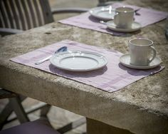 Placemat | Moulin Plum from The Linen Works | Dinner Alfresco
